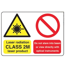 Laser radiation CLASS 2M laser product Sign