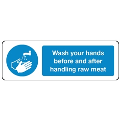 Wash your hands before and after handling raw meat sign