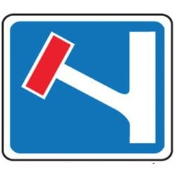 No Through Road on Left Traffic Sign