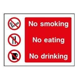 No smoking - No eating - No drinking Sign
