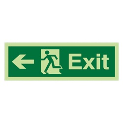 Emergency Escape Sign - Arrow Left (Photoluminescent)