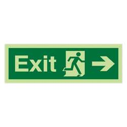 Emergency Escape Sign - Arrow Right (Photoluminescent)