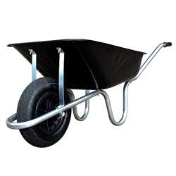 black galvanised wheelbarrow