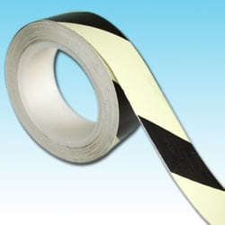 Glow in the dark Black diagonal photoluminescent tape