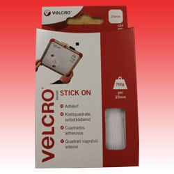 VELCRO® Brand Stick on Squares - White - 25mm