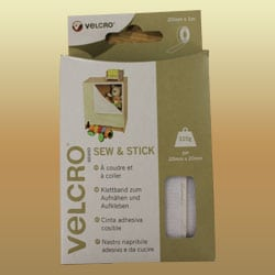 VELCRO® Brand Sew and Stick Tape - White - 20mm x 1M