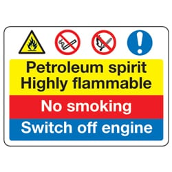 Petroleum spirit Highly flammable No smoking Switch off engine sign