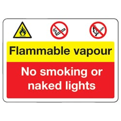 Flammable Vapour No Smoking or Naked Lights Sign