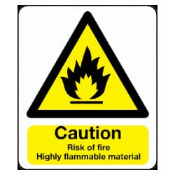 Caution Risk of Fire Highly Flammable Material Sign