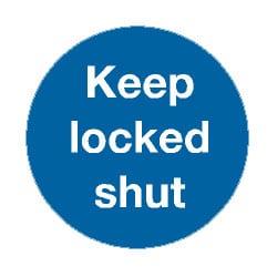 Mandatory Keep Locked Shut Sign