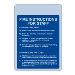 Fire Instructions for Staff Sign
