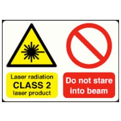 Laser radiation CLASS 2 laser product etc sign