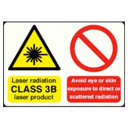 Laser radiation CLASS 3B laser product etc sign
