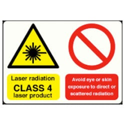 Laser radiation CLASS 4 laser product etc sign