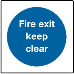 Mandatory Fire Exit Keep Clear Sign