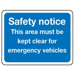 This area must be kept clear for emegency vehicles Sign
