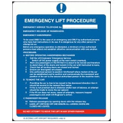 Emergency Lift Procedure Electric Sign