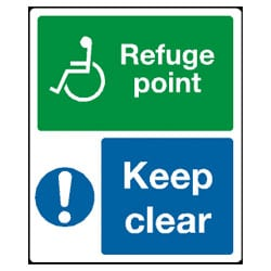 Disabled Refuge Point Keep Clear Sign
