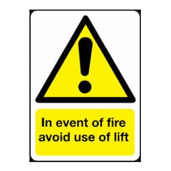 In event of fire avoid use of lift Sign