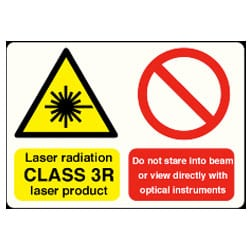 Laser radiation CLASS 3R laser product Do not stare into beam sign