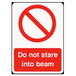 Do not stare into beam Sign
