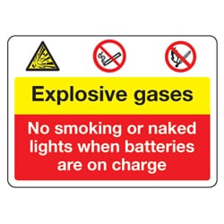 Explosive gases no smoking or naked lights sign