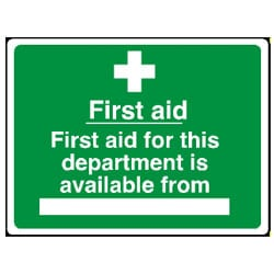 First aid for this department is available from -BLANK- Sign