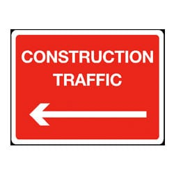 Directions to Construction Traffic - Arrow Left Sign