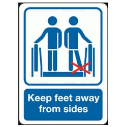 Keep Feet Away From Sides Escalator Sign