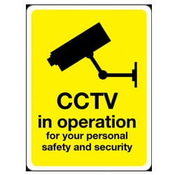 CCTV in operation for your personal safety and security Sign