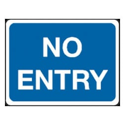 No Entry Sign - Blue and White