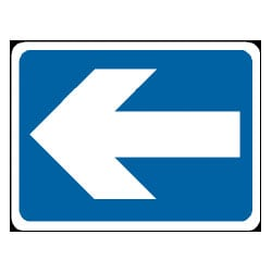 White on Blue Arrow Sign