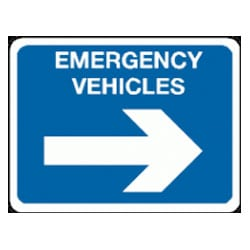 Emergency Vehicles Arrow Right Sign