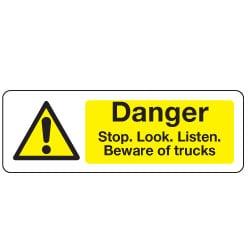 Danger Stop Beware of Trucks Sign
