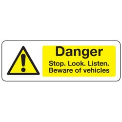 Danger Stop Beware of vehicles Sign