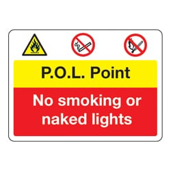 P.O.L Point, No smoking or naked lights Sign