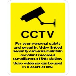 CCTV For your personal safety etc Sign