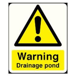Warning Drainage Pond Sign