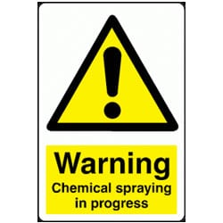 Chemical Spraying In Progress Sign