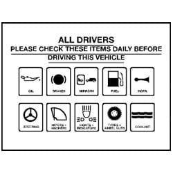 All Drivers Please Check These Items Daily Sign