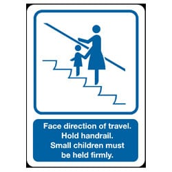 Face direction of travel escalator sign