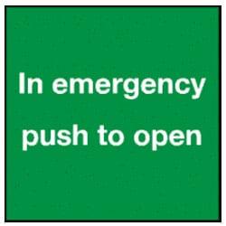 In Emergency Push To Open Sticker