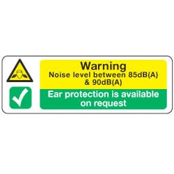 Warning Noise Level and Ear protection Sig