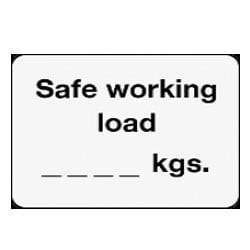 Safe working load BLANK kgs Sign
