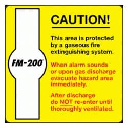 Caution FM-200 Sign