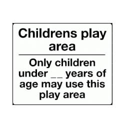 Children's Play Area Age Restriction Sign