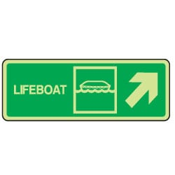 Lifeboat Arrow Right Up Sign