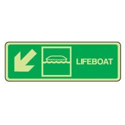 Lifeboat Arrow Down Left Sign