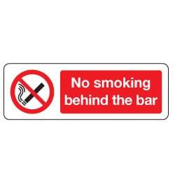 No Smoking Behind Bar Sign