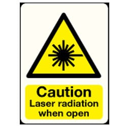 Caution Laser radiation when open Sign